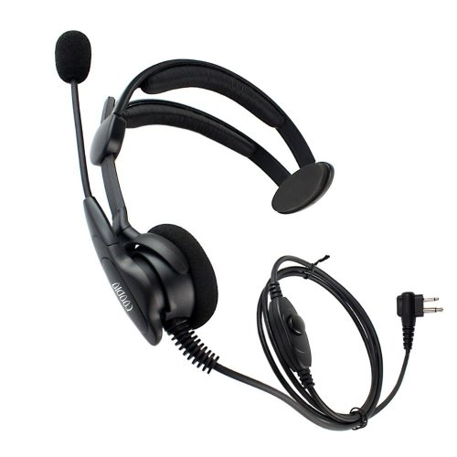 Coodio Over-the-Head Earpiece Headset [Swivel Boom Microphone] [Noise Cancelling] For 2 Pin Motorola CP040, CP140, Hytera, Midland 2 Way Radio