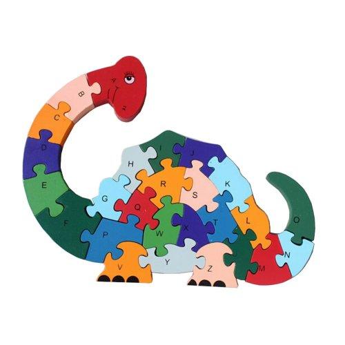 Funny Digital & Letter Wooden Blocks Puzzles Educational Puzzle Cute Dinosaur