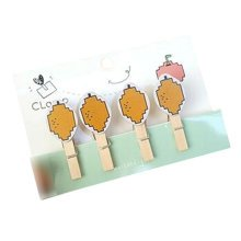 Creative Natural Wooden Lovely Photo Paper Peg Pin Craft Clips with 52CM Jute Twine, NO.3
