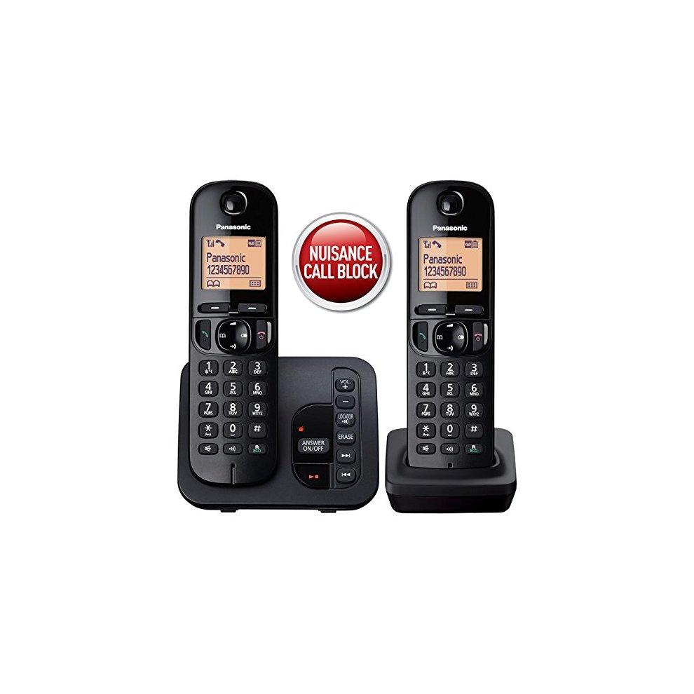 ce6a3635b8e ... Panasonic KX-TGC222EB Digital Cordless Phone with LCD Display - Black  (Pack of 2 ...