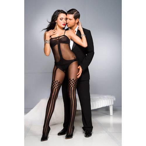 Crotchless Bodystocking With Stockings Design  Ladies Lingerie Cat suits - Music Legs