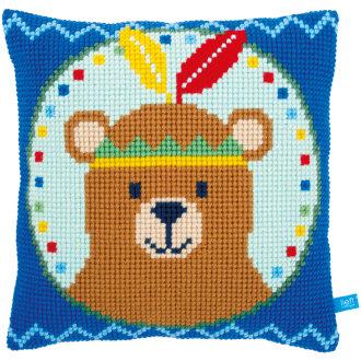 "Bear With Feather Cushion Cross Stitch Kit-16""X16"""