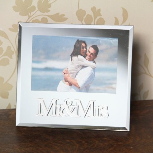 Mr & Mrs Mirror Photo Frame 4 x 6\