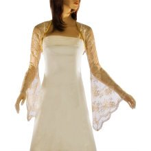 Grace & Flair - Ladies Antique Gold Lace Bell Sleeve Bolero Size 6-30