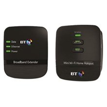 BT Mini Wi-Fi 500 Home Hotspot Powerline Adapter Kit - Black, Pack of 2