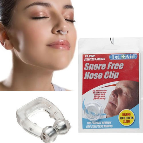 Snore Free Nose Clip In Clam Shell. -  snoring snore nose clip aid free stop sleep night anti magnetic sleeping plug nasal
