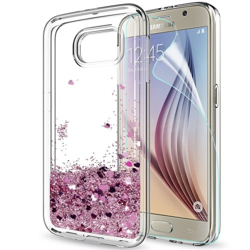 Phone Case Samsung Galaxy S6 Case Cover Glitter Clear, LeYi Fashionable Design Sparkly Shiny Bling Cute Luxury Liquid Quicksand TPU Silicone Gel...