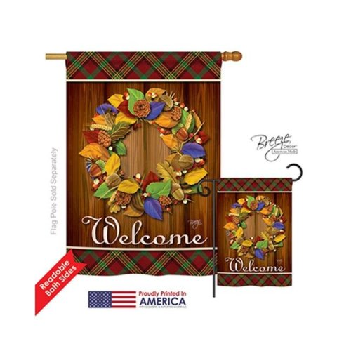 Breeze Decor 13036 Thanksgiving Fall Wreath 2-Sided Vertical Impression House Flag - 28 x 40 in.