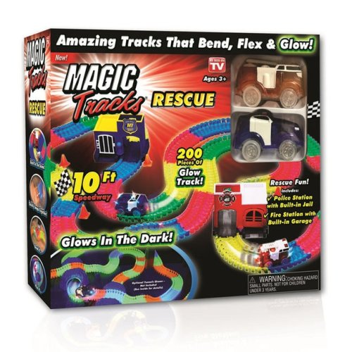 Magic Tracks Rescue Set Glows In The Dark 200 PCS 10Ft Speedway Ages 3 Years+