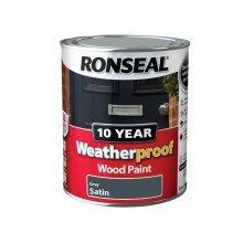 Ronseal 10 Year Weatherproof Exterior Wood Paint 750ml - SATIN Grey