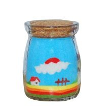 Blue Sand Handmade Art Picture with Bottle