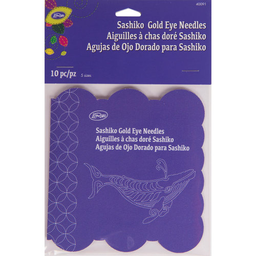 LoRan Sashiko Gold Eye Needles 10/pkg-