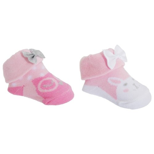 Baby Girls Cotton Rich Owl/Bunny Socks With Gift Pouch (Pack Of 2)