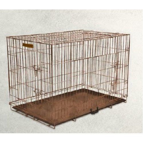 Hound Antique Copper Finish Fold Flat Metal Crate With Metal Tray Large