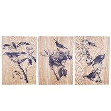 Bird Life' Decorative Wooden Home Wall Art Trio
