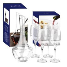 Royal Collection Kwarx Crystal Glass Decanter & 4 Red Wine Glasses Gift Box Set - Beautifully hand crafted
