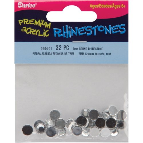 Rhinestones Round 7mm 32/Pkg-Crystal