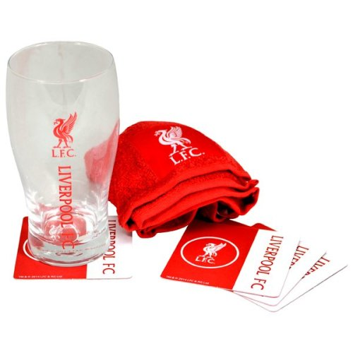 Liverpool Wordmark Mini Bar Set - Fc Latest Beer Glass Football Team Official -  set mini bar liverpool fc latest beer glass football team official