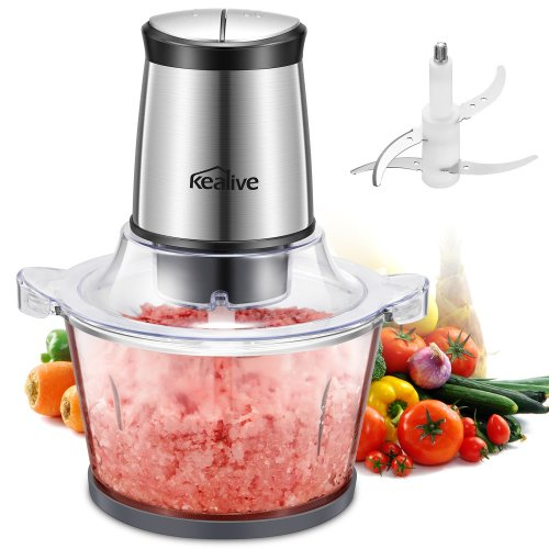 Chopper Kealive Mini Chopper, 400W Multipurpose Kitchen Food Processor with High/Low Speed Choice, 4 Sharp Blades, 2 L Glass Bowl, for Meat,...