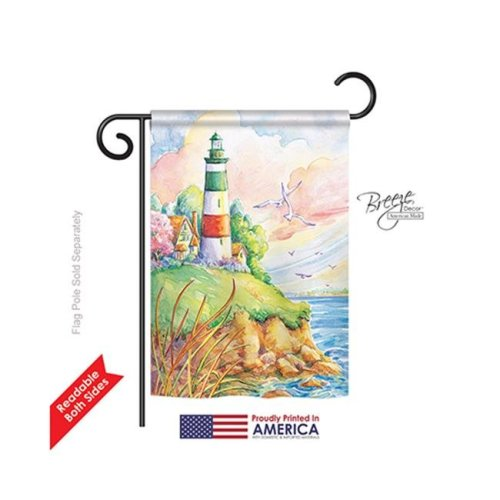 Breeze Decor 56064 Beach & Nautical Cliff Lighthouse 2-Sided Impression Garden Flag - 13 x 18.5 in.