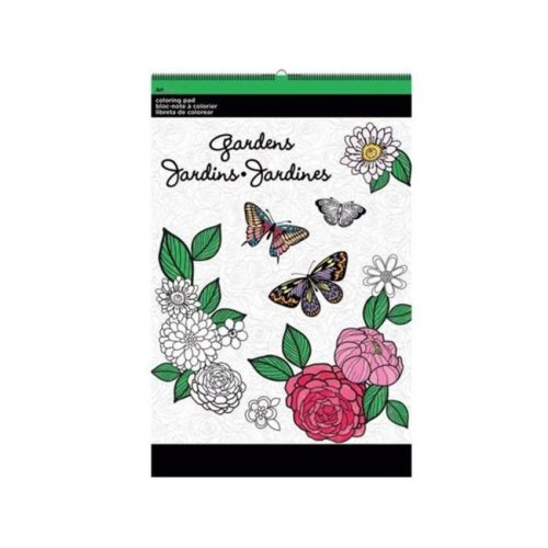 Kole Imports OT762-12 11 x 17 in. Gardens Large Coloring Pad - Pack of 12