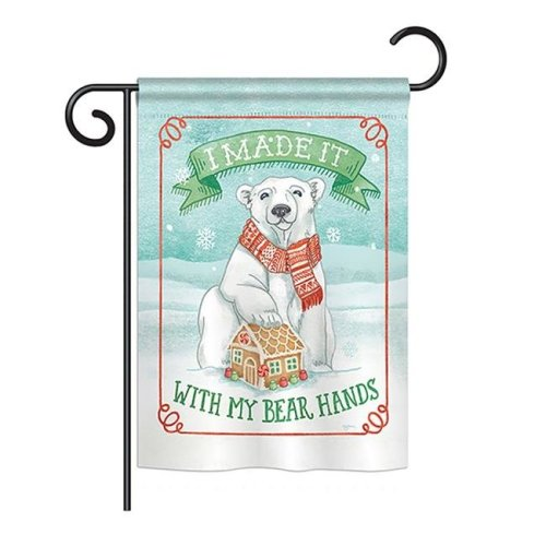 Breeze Decor BD-XM-G-114156-IP-BO-DS02-US My Bear Hands Winter - Seasonal Christmas Impressions Decorative Vertical Garden Flag - 13 x 18.5 in.
