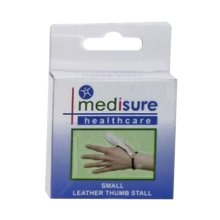 Small Medisure Leather Finger Stall -  medisure soft leather thumb stall choose your size