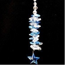 Cut Crystal Blue Star Hanging Suncatcher Ornament