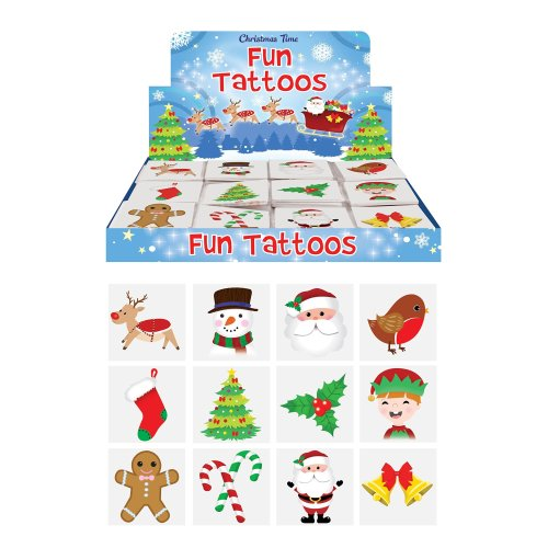 48 x Christmas Children's Temporary Tattoos (4 packs of 12)