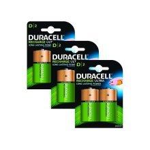 6 x Duracell D Size 3000 mAh Rechargeable Batteries NiMH LR20 HR20 DC1300 ACCU