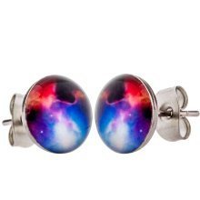 Men's 'Nebula' 12mm Space Stainless Steel Stud Earrings by Urban Male