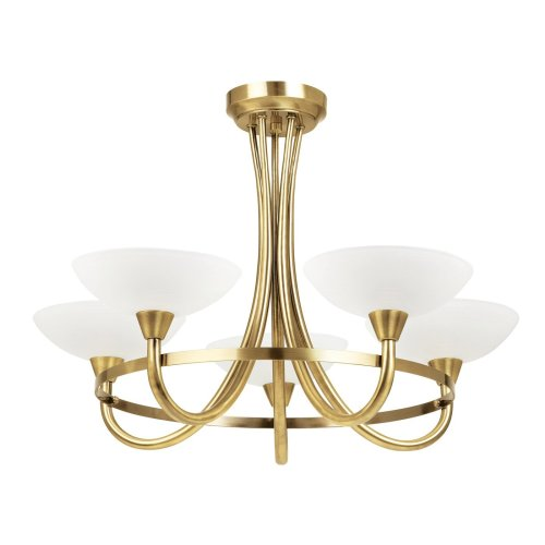 Traditional Brass Ceiling Light With Opal Glass Shades