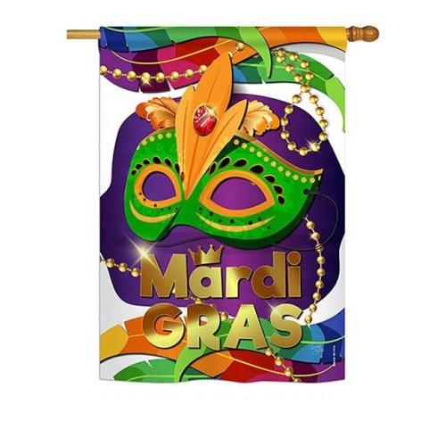 Breeze Decor BD-MG-H-118011-IP-BO-DS02-US 28 x 40 in. Seasonal Mardi Gras Impressions Decorative Vertical House Flag - Mardi Gras Mask Spring