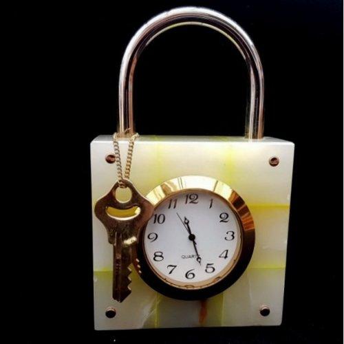 Onyx Marble Padlock Shape Clock Ornament