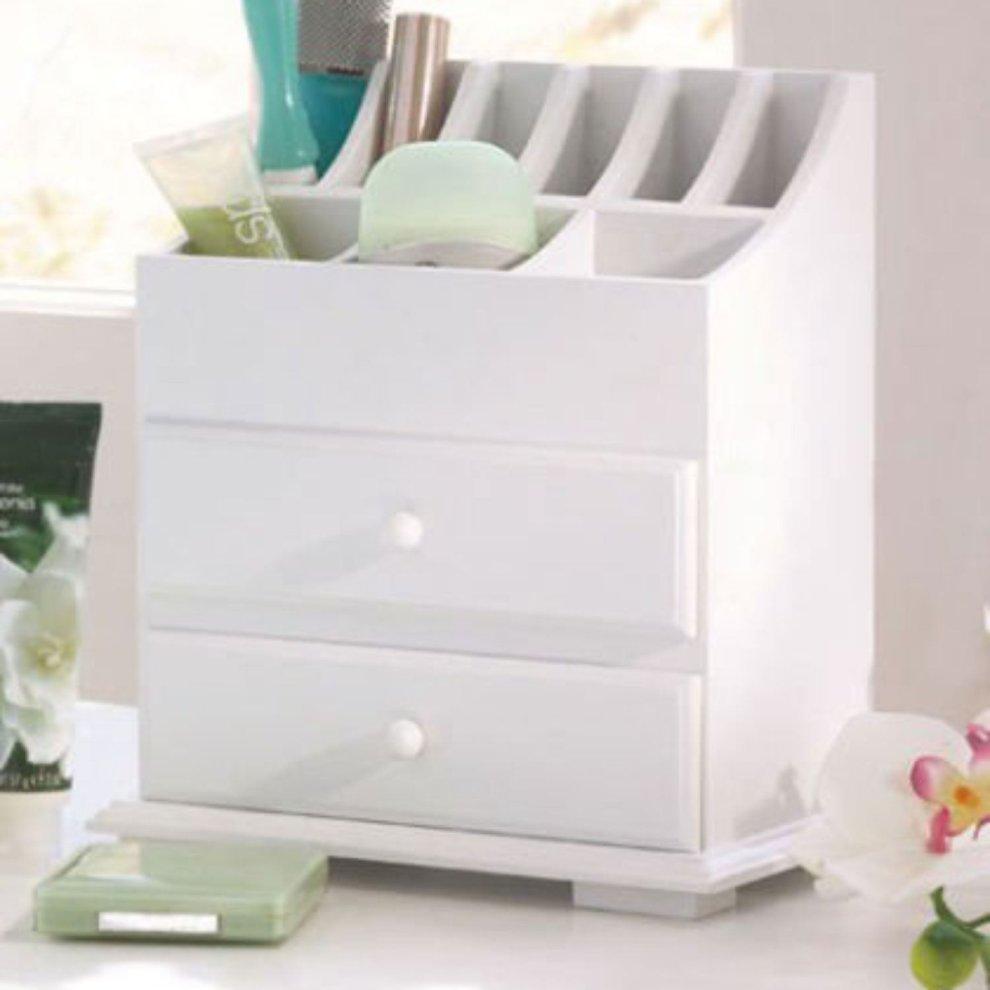 White Wooden Desk Tidy Organiser Caddy Pen Holder Make Up 2 Drawer Cosmetic