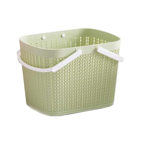 Bath Storage Basket Plastic Storage Basket with Handles ?Green?