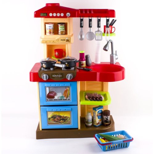 Deao Children Play Kitchen Set Toy With Food And Cooking Accessories On