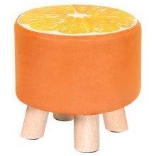 Creative Wood Fabric for Shoe Stool Household Stool Round stool Children Adults Apply, Orange