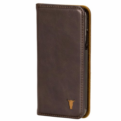iPhone XR Dark Brown Leather Case, with stand function by TORRO
