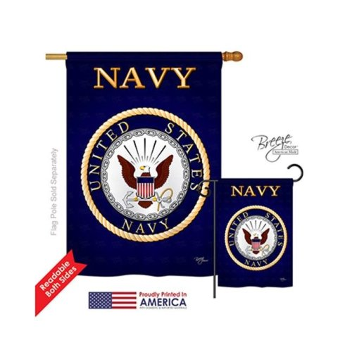 Breeze Decor 08058 Military Navy 2-Sided Vertical Impression House Flag - 28 x 40 in.