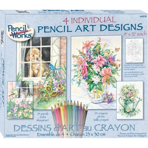 Dpw91219 - Paintsworks Pencil by Numbers - Flowers & Pets