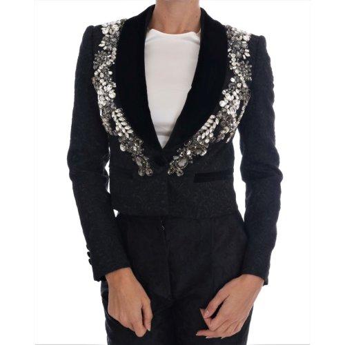 Dolce & Gabbana Black Brocade Crystal Blazer (IT42|M)