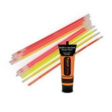 10PC Glow Sticks in Assorted Colours with 13ml Tube Neon UV Orange Face and Body Paint