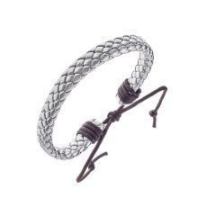 Urban Male Genuine Silver Leather Flat Plaited Surfer Bracelet