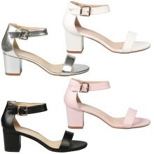 Harlow Ladies Block Heel OpenToe Ankle Strap Party Formal Wedding Casual Sandals