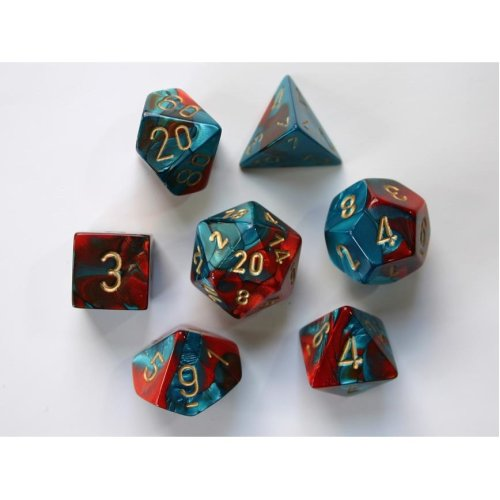Chessex Gemini Polydice Set - Red-Teal/gold