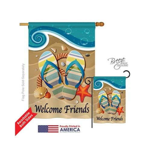 Breeze Decor 06060 Summer Sunny Friends 2-Sided Vertical Impression House Flag - 28 x 40 in.