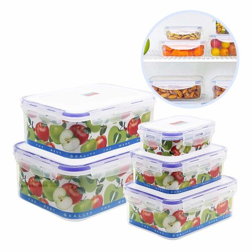 2489d797bd0 Plastic Food Storage Containers Set,Nuobk 5 Piece Leak Proof Lunch Boxes  with Clip Lids Suitable for Microwave Dishwasher Freezer (5 Pcs in 1 Pack)  on OnBuy