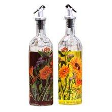 2PCS Beautiful Glass Oil Container Vinegar Bottle Cruet Oil Bottle, NO.5