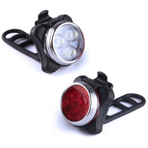 KUNGIX Bike Headlight and Rear Lights, Bike Front Light Taillight Combinations Set Waterproof Rechargeable Lights Torch with Waterproof USB Cables...